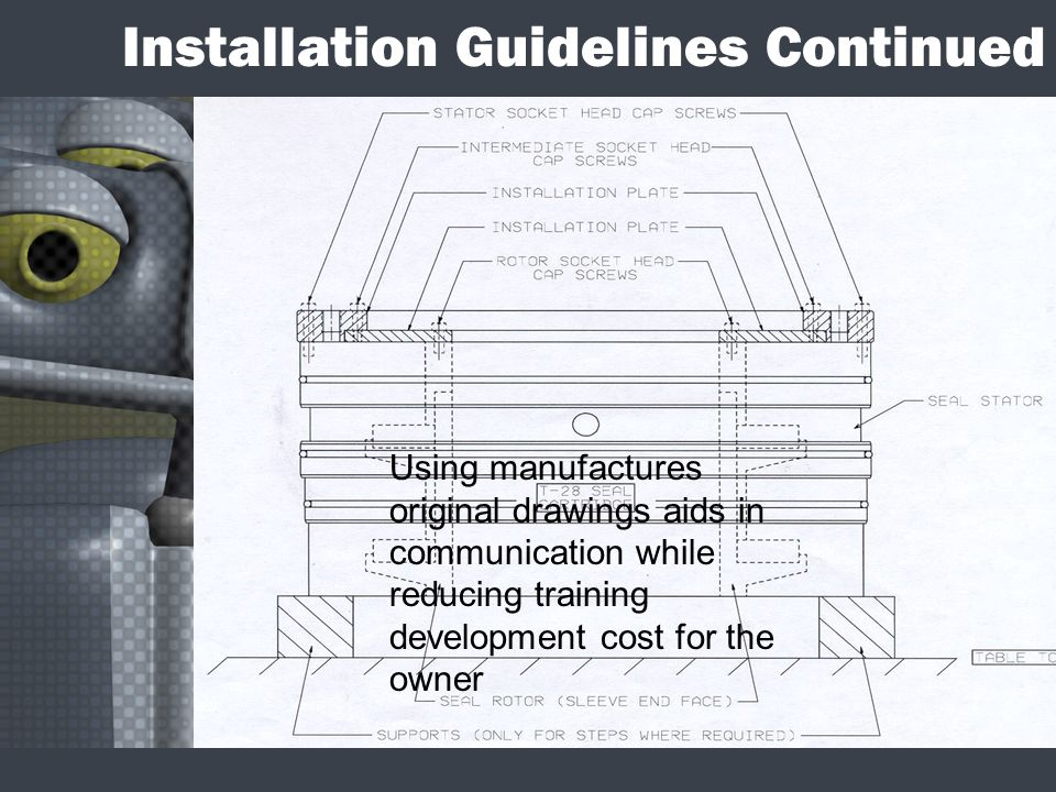 Installation Guidelines Continued Using manufactures original drawings aids in communication while reducing training development cost for the owner