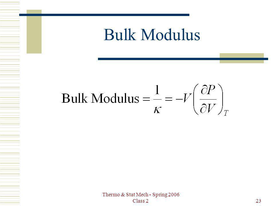 Thermo & Stat Mech - Spring 2006 Class 223 Bulk Modulus
