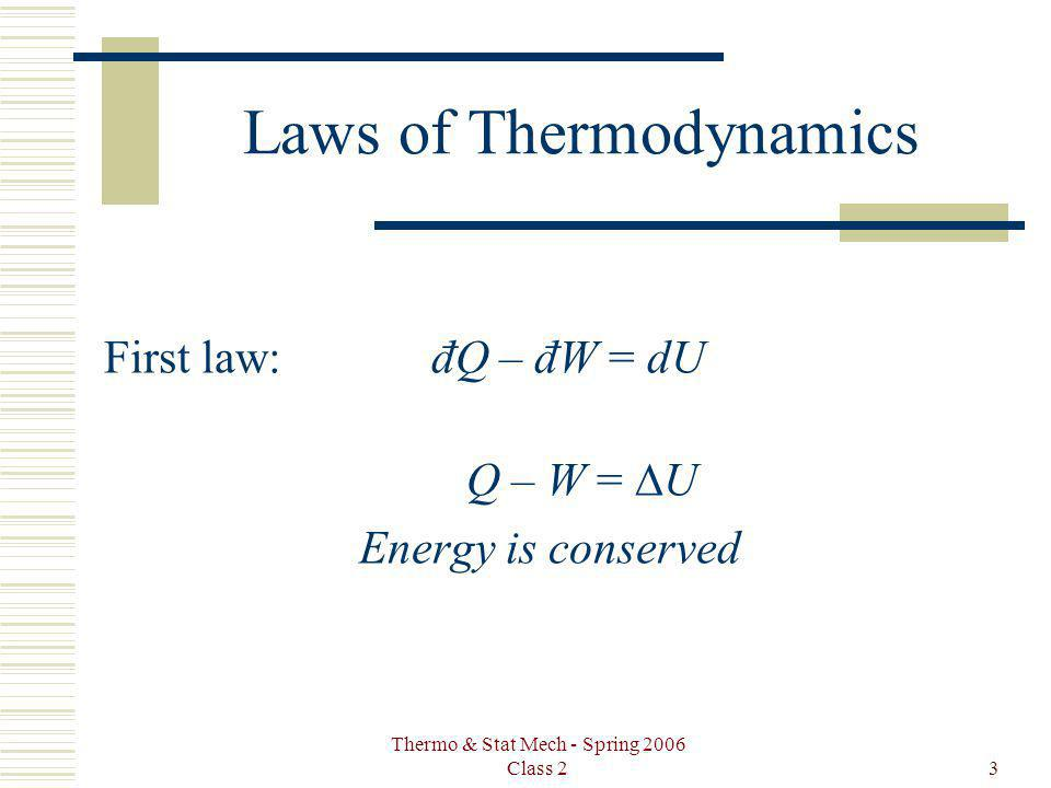 Thermo & Stat Mech - Spring 2006 Class 23 Laws of Thermodynamics First law: đQ – đW = dU Q – W = U Energy is conserved