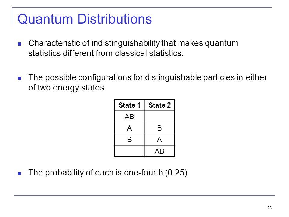 23 Quantum Distributions Characteristic of indistinguishability that makes quantum statistics different from classical statistics. The possible config