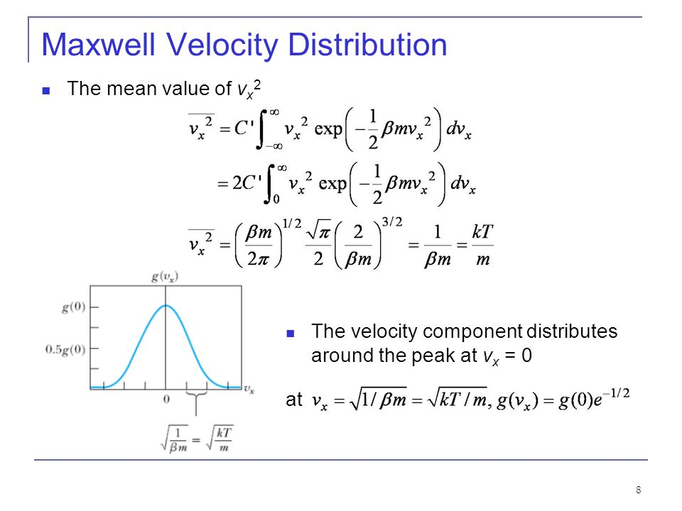 19 Maxwell Speed Distribution Most probable speed (at the peak of the speed distribution): Mean speed (average of all speeds): Root-mean-square speed (associated with the mean kinetic energy): Standard deviation of the molecular speeds: σ v in proportion to.