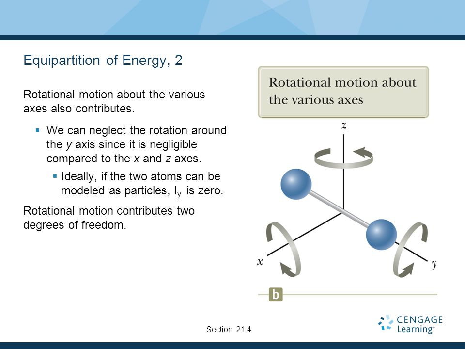 Equipartition of Energy, 2 Rotational motion about the various axes also contributes. We can neglect the rotation around the y axis since it is neglig