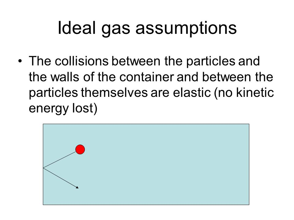 Ideal gas assumptions The collisions between the particles and the walls of the container and between the particles themselves are elastic (no kinetic energy lost)