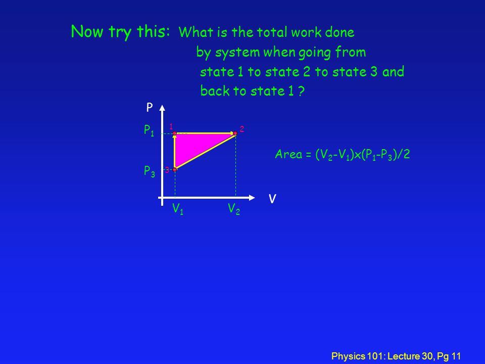 Physics 101: Lecture 30, Pg 11 V P 1 2 3 Now try this: What is the total work done by system when going from state 1 to state 2 to state 3 and back to state 1 .