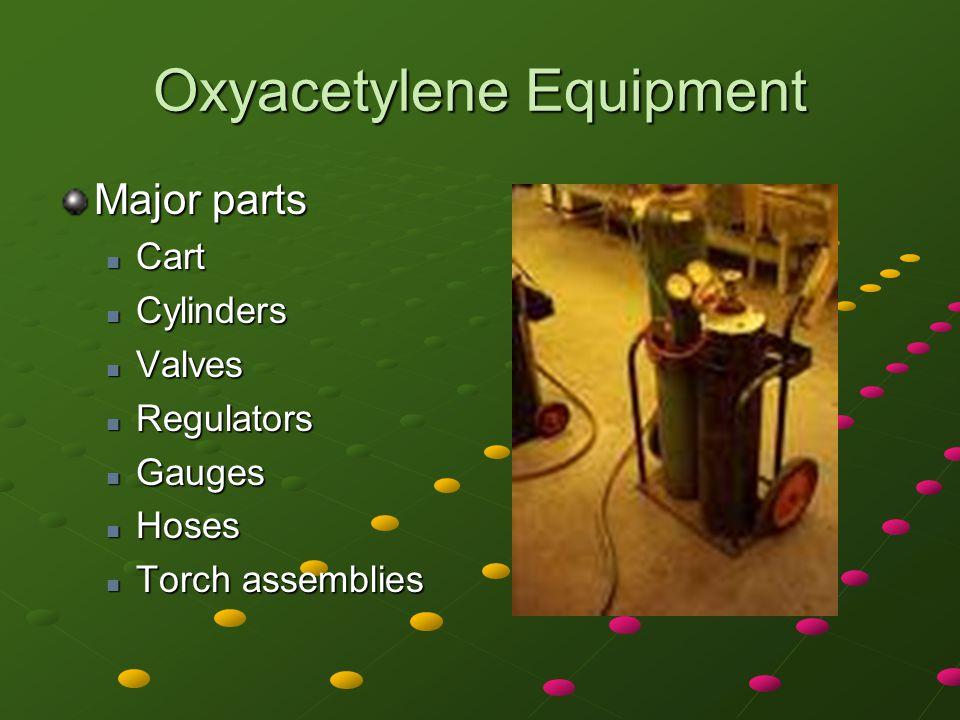 Oxyacetylene Equipment Major parts Cart Cart Cylinders Cylinders Valves Valves Regulators Regulators Gauges Gauges Hoses Hoses Torch assemblies Torch