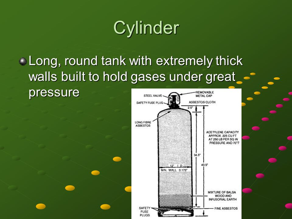 Cylinder Long, round tank with extremely thick walls built to hold gases under great pressure