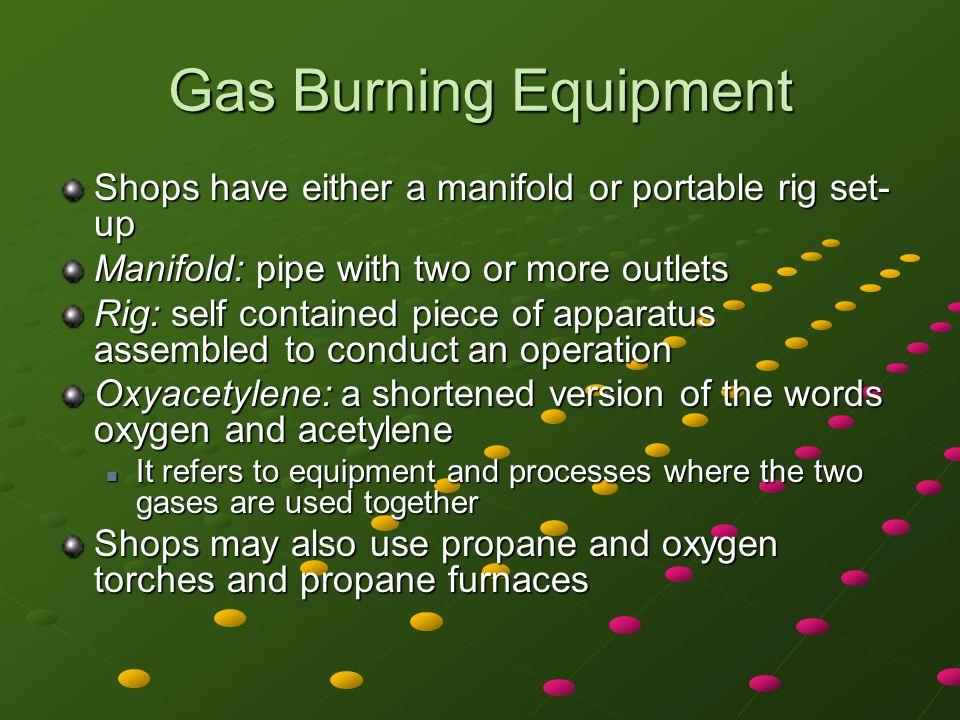 Oxyacetylene Equipment Major parts Cart Cart Cylinders Cylinders Valves Valves Regulators Regulators Gauges Gauges Hoses Hoses Torch assemblies Torch assemblies
