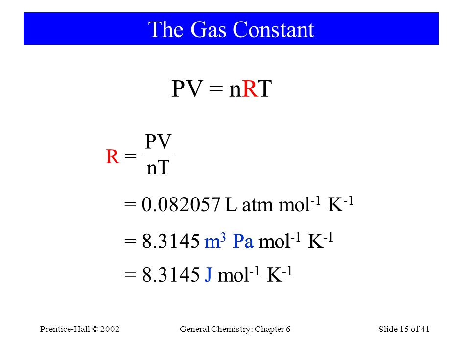 Prentice-Hall © 2002General Chemistry: Chapter 6Slide 15 of 41 The Gas Constant R =R = PV nT = 0.082057 L atm mol -1 K -1 = 8.3145 m 3 Pa mol -1 K -1 PV = nRT = 8.3145 J mol -1 K -1 = 8.3145 m 3 Pa mol -1 K -1