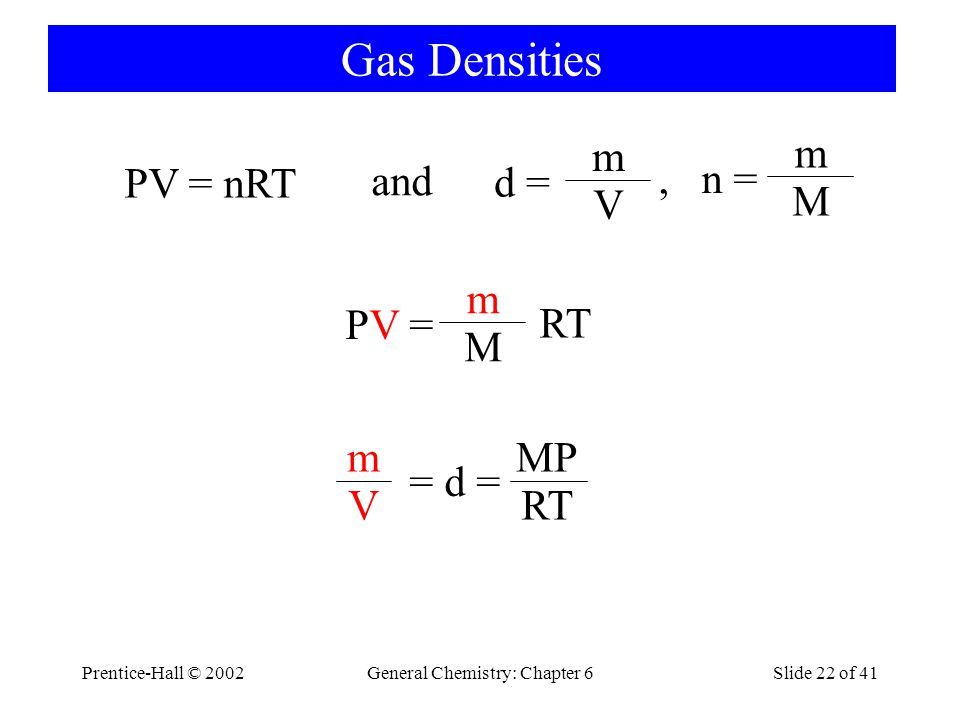 Prentice-Hall © 2002General Chemistry: Chapter 6Slide 22 of 41 Gas Densities PV = nRT and d = m V PV =PV = m M RT MP RTV m = d =, n = m M