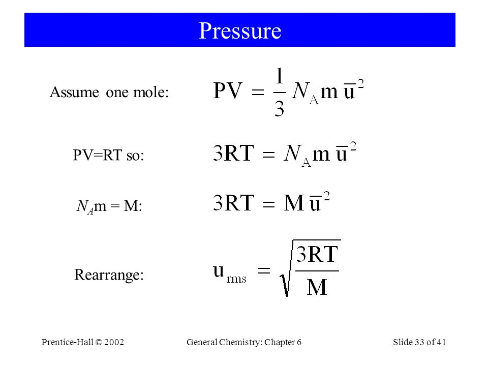 Prentice-Hall © 2002General Chemistry: Chapter 6Slide 33 of 41 Pressure Assume one mole: PV=RT so: N A m = M: Rearrange: