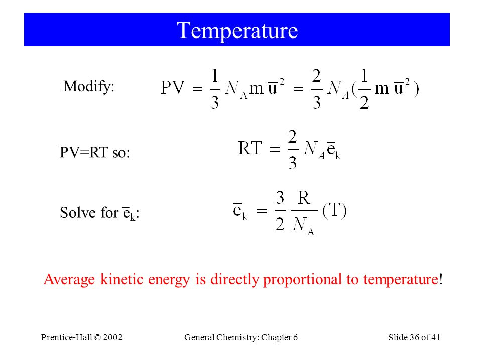 Prentice-Hall © 2002General Chemistry: Chapter 6Slide 36 of 41 Temperature Modify: PV=RT so: Solve for e k : Average kinetic energy is directly proportional to temperature!