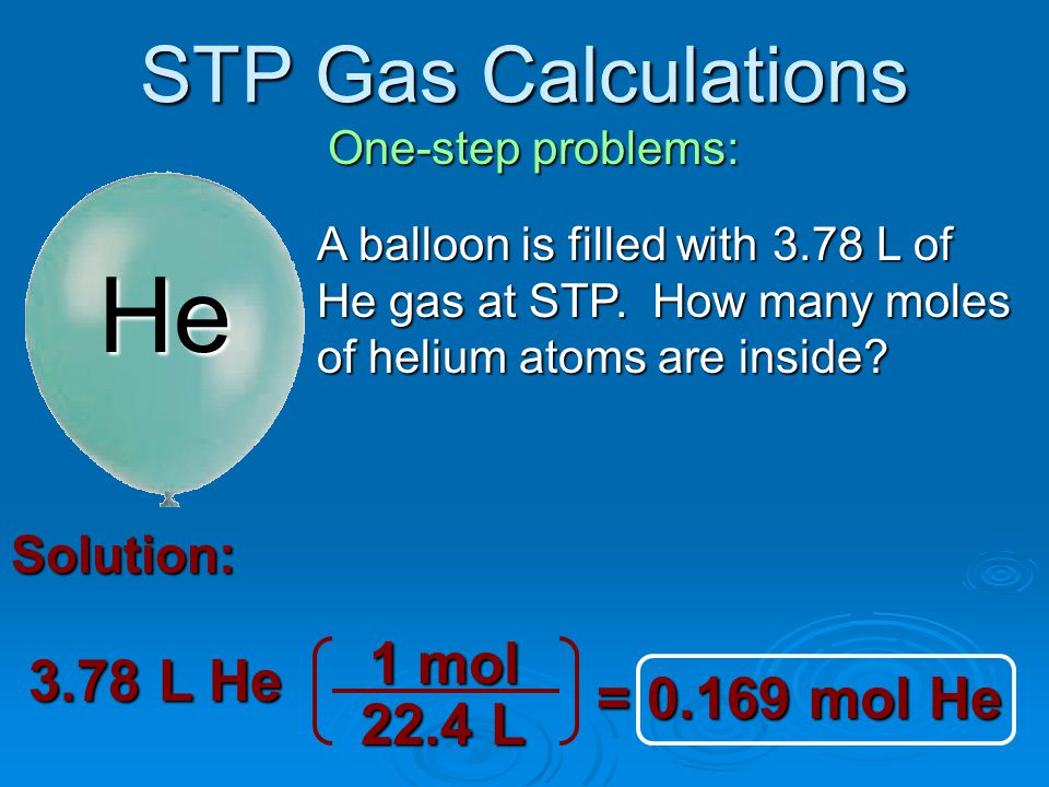 STP Gas Calculations Two-step problems: Solution: 4.0 L CO 2 22.4 L 1 mol = 7.86 g CO 2 Mass(g) mole GasVol 1 mol 44.010 g CO 2 If this girls balloon is filled with 4.0 liters of CO 2 gas at STP and someone popped it with a pin, what mass in grams would be released?