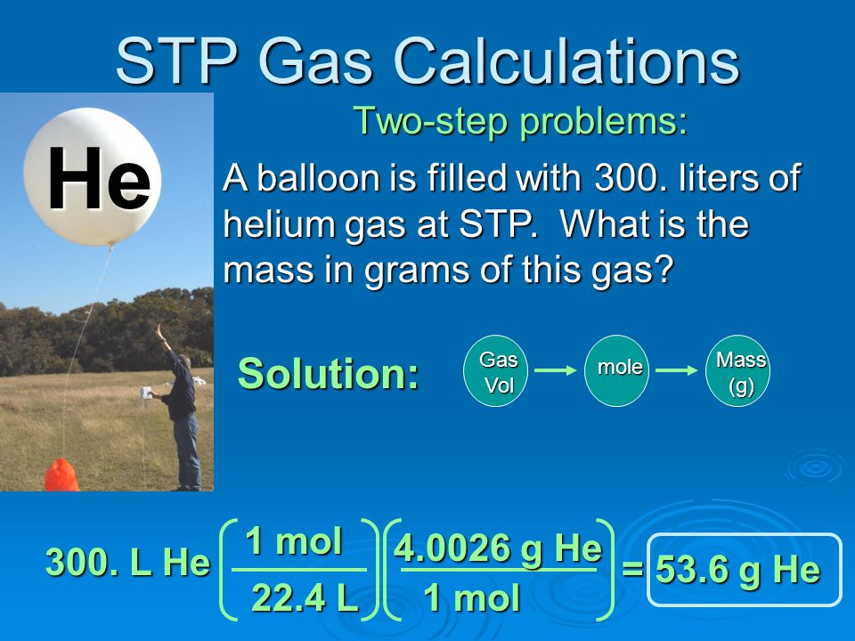 STP Gas Calculations One-step problems: If these balloons are filled with gas at STP and their density is 1.85 g/L, what is the molar mass of this gas.