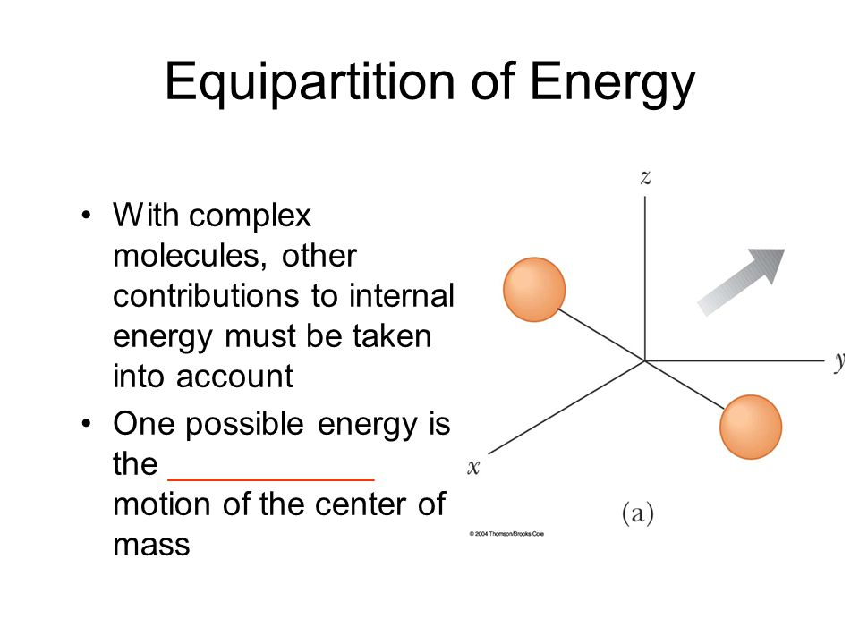 Equipartition of Energy With complex molecules, other contributions to internal energy must be taken into account One possible energy is the _________