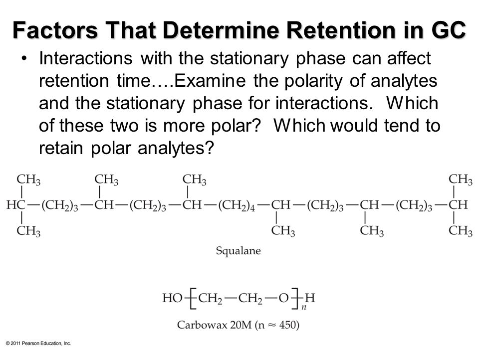 © 2011 Pearson Education, Inc. Factors That Determine Retention in GC Interactions with the stationary phase can affect retention time….Examine the po