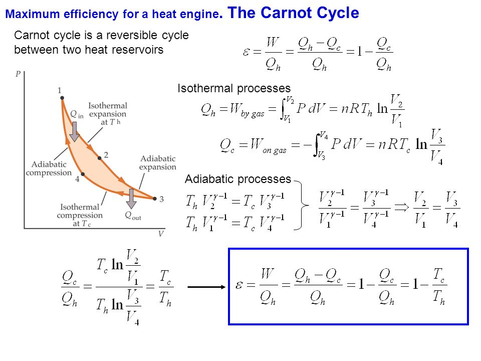 Maximum efficiency for a heat engine. The Carnot Cycle Carnot cycle is a reversible cycle between two heat reservoirs Isothermal processes Adiabatic p