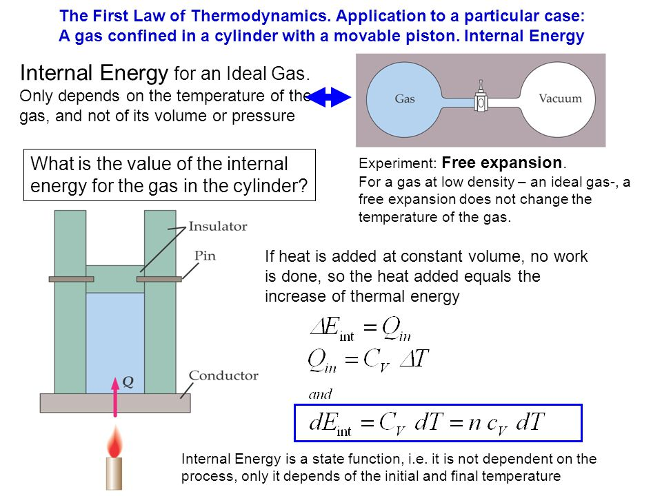 The First Law of Thermodynamics. Application to a particular case: A gas confined in a cylinder with a movable piston. Internal Energy Internal Energy