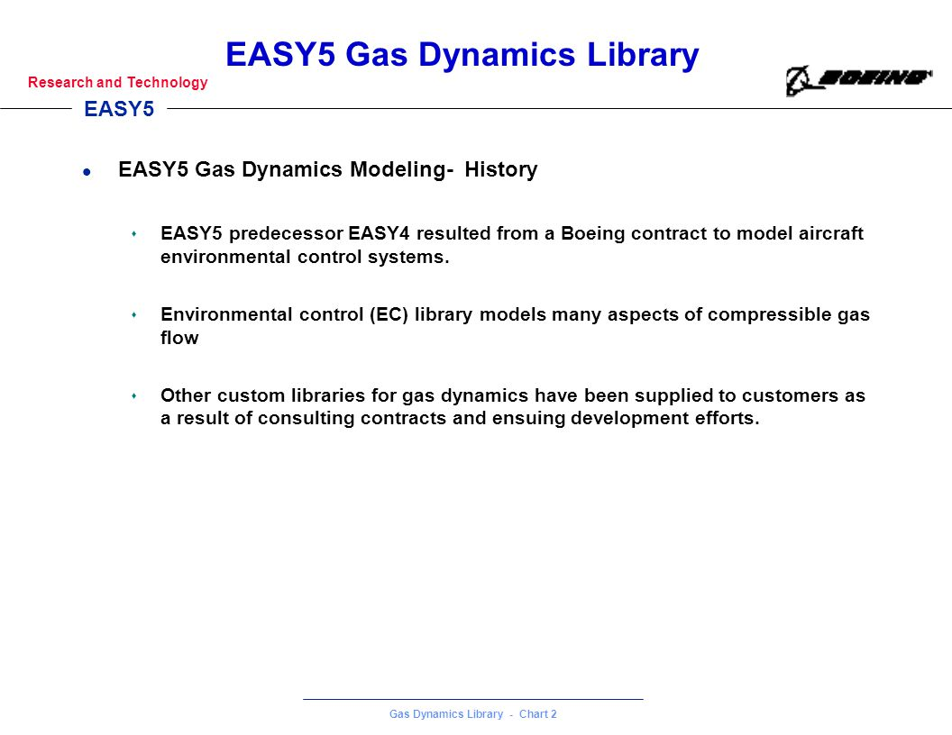 EASY5 Gas Dynamics Library - Chart 2 Research and Technology EASY5 Gas Dynamics Library l EASY5 Gas Dynamics Modeling- History s EASY5 predecessor EAS