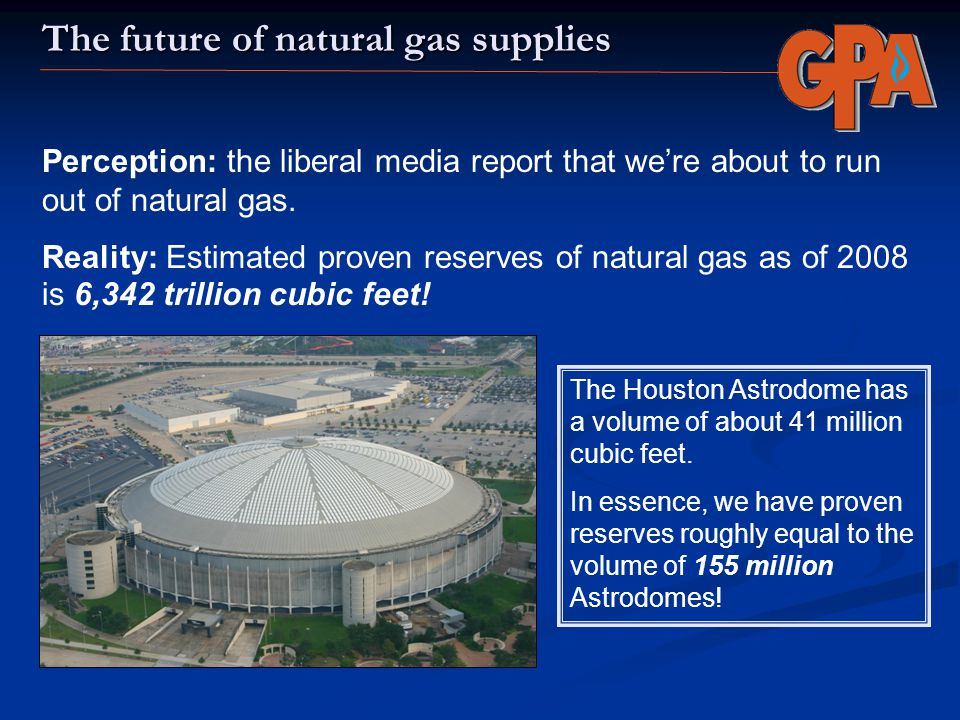 The future of natural gas supplies Perception: the liberal media report that were about to run out of natural gas. Reality: Estimated proven reserves
