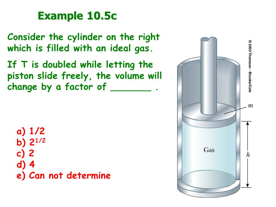 Example 10.5c Consider the cylinder on the right which is filled with an ideal gas.