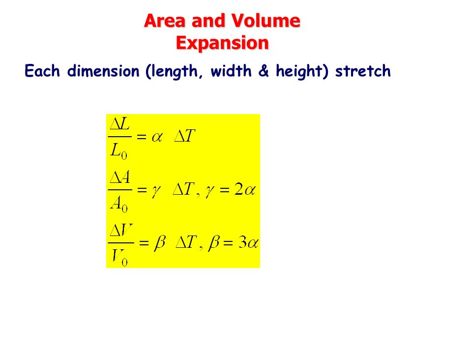 Area and Volume Expansion Each dimension (length, width & height) stretch