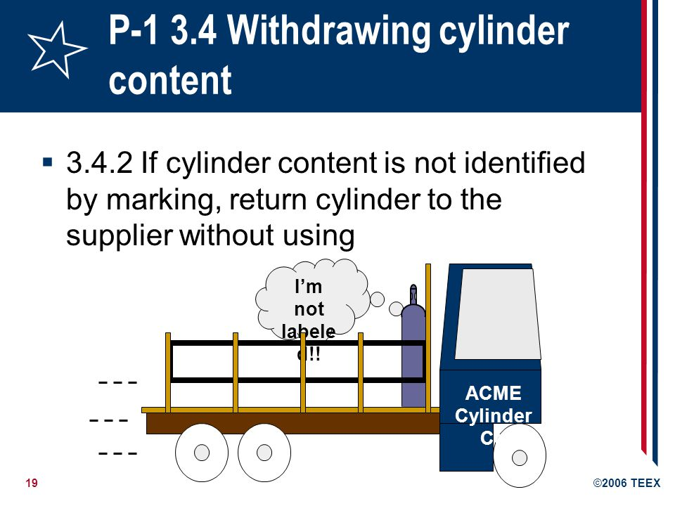 19©2006 TEEX P-1 3.4 Withdrawing cylinder content 3.4.2 If cylinder content is not identified by marking, return cylinder to the supplier without usin