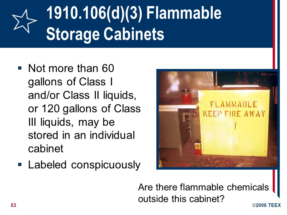 53©2006 TEEX 1910.106(d)(3) Flammable Storage Cabinets Not more than 60 gallons of Class I and/or Class II liquids, or 120 gallons of Class III liquid