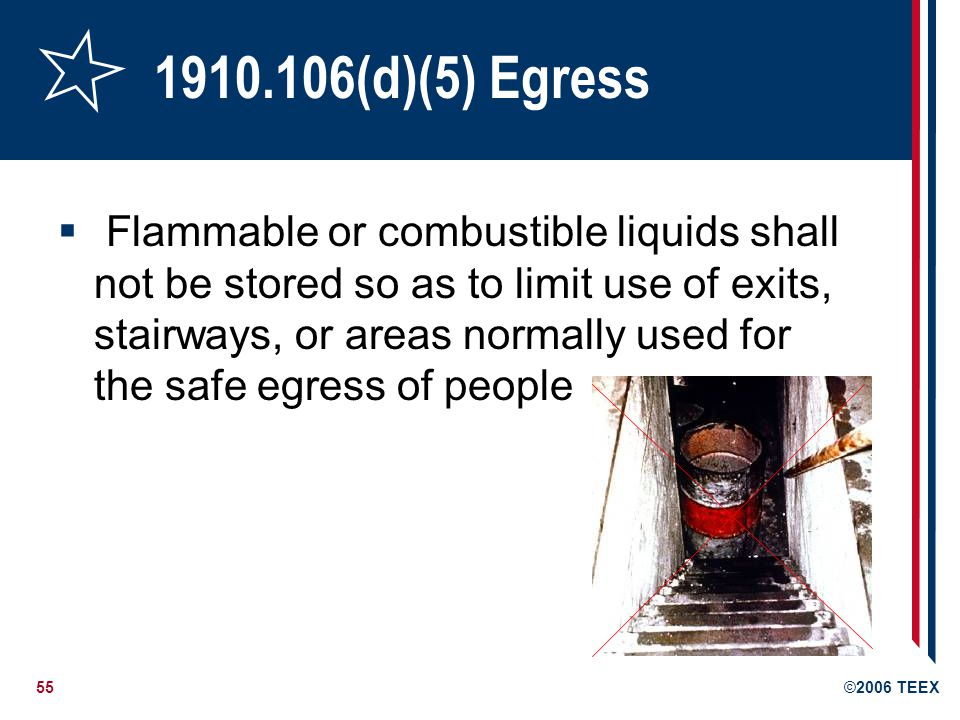 55©2006 TEEX 1910.106(d)(5) Egress Flammable or combustible liquids shall not be stored so as to limit use of exits, stairways, or areas normally used