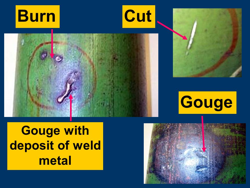 Subtitles & Transitions FOR EXAMPLE… Burn Gouge with deposit of weld metal Gouge Cut