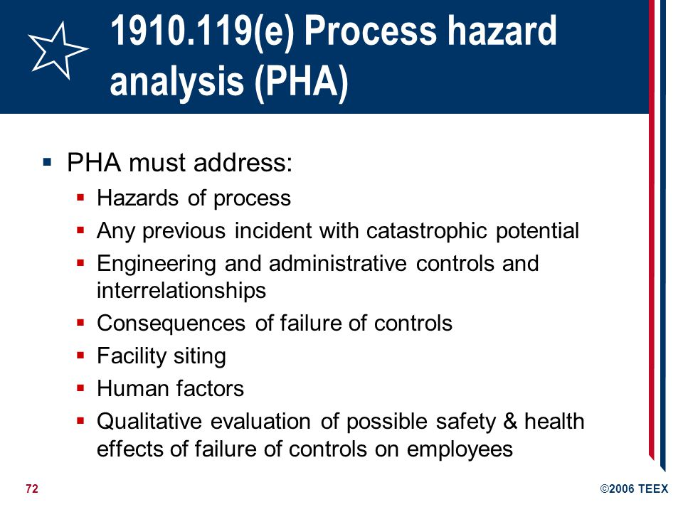 72©2006 TEEX 1910.119(e) Process hazard analysis (PHA) PHA must address: Hazards of process Any previous incident with catastrophic potential Engineer