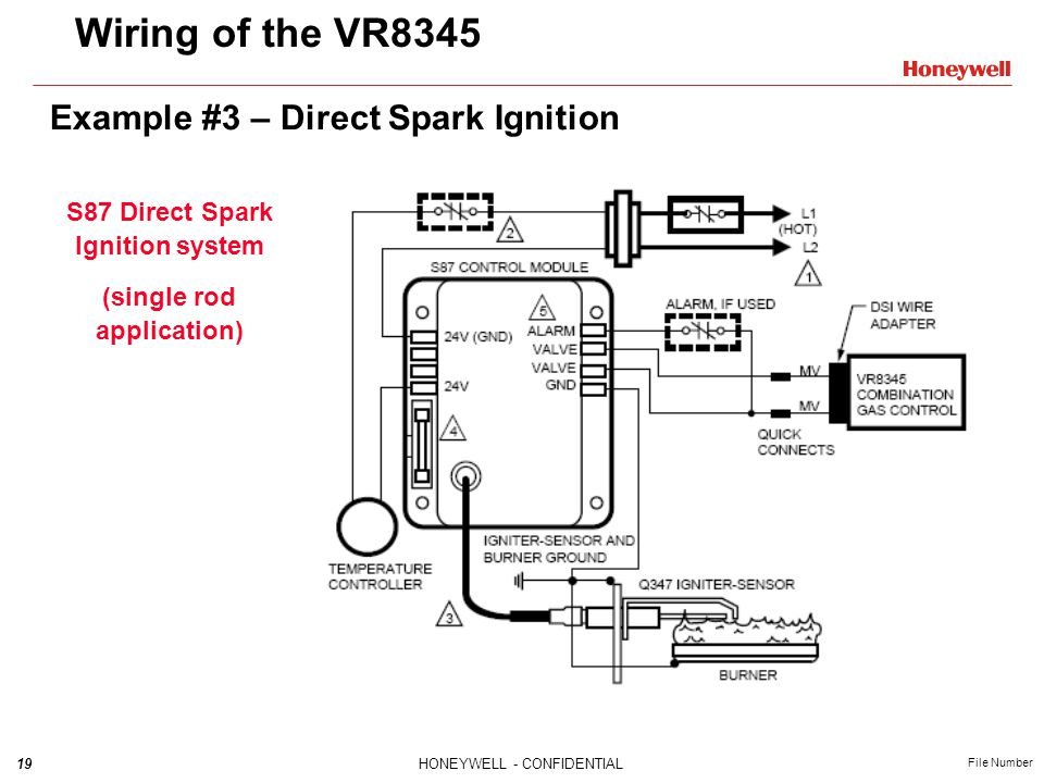 19HONEYWELL - CONFIDENTIAL File Number Wiring of the VR8345 S87 Direct Spark Ignition system (single rod application) Example #3 – Direct Spark Igniti
