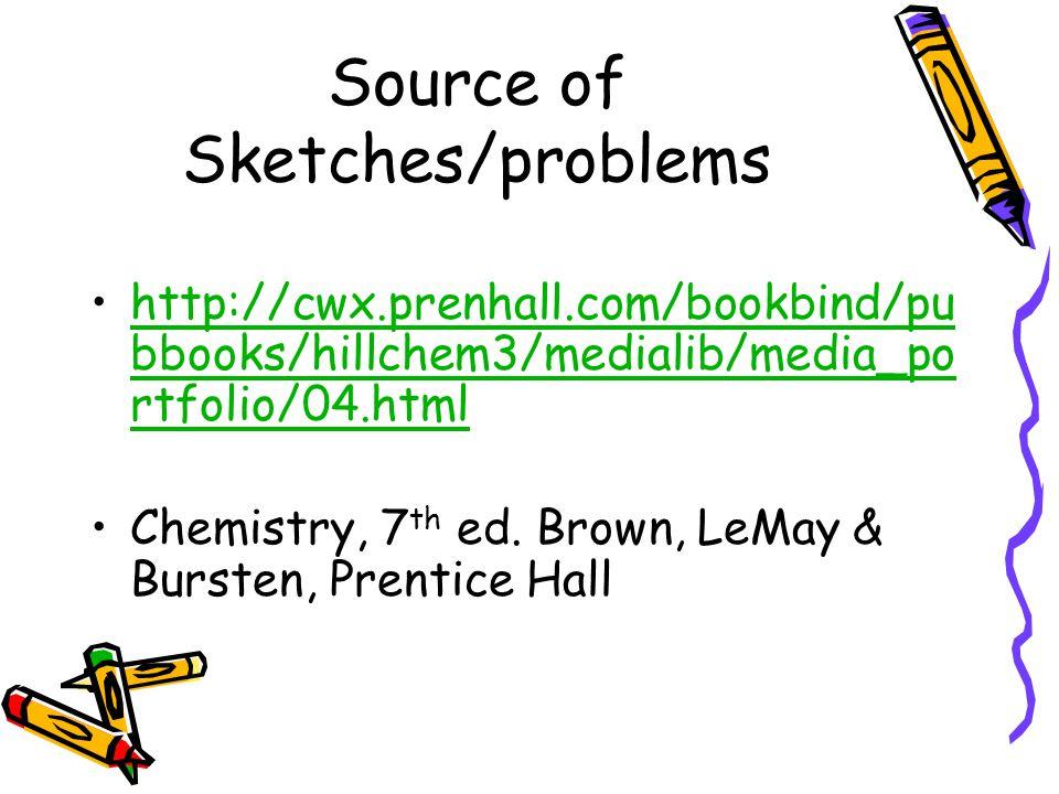 Source of Sketches/problems http://cwx.prenhall.com/bookbind/pu bbooks/hillchem3/medialib/media_po rtfolio/04.htmlhttp://cwx.prenhall.com/bookbind/pu