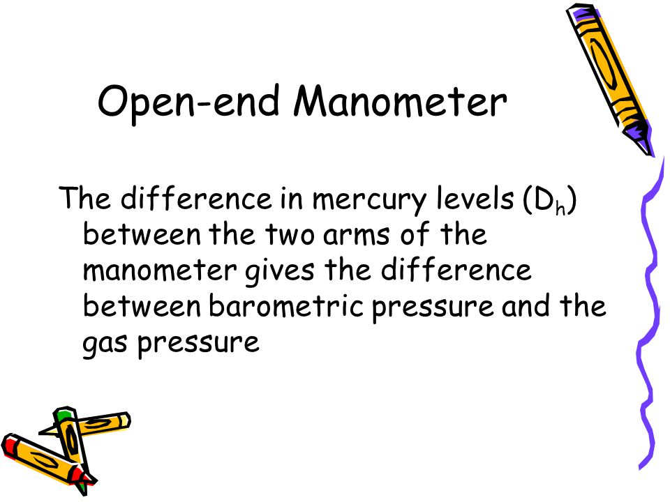 Open-end Manometer The difference in mercury levels (D h ) between the two arms of the manometer gives the difference between barometric pressure and the gas pressure