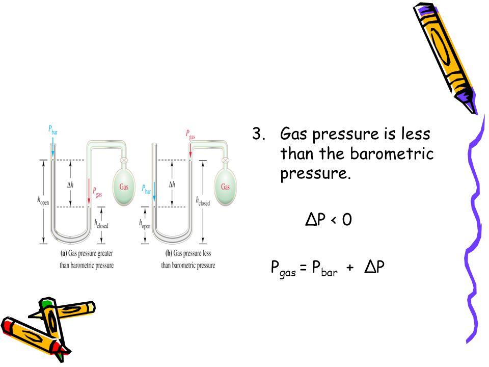 3.Gas pressure is less than the barometric pressure. P < 0 P gas = P bar + P