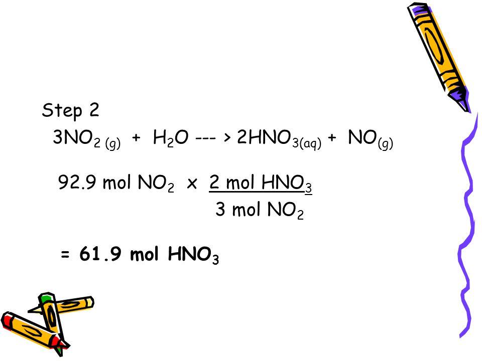 Step 2 3NO 2 (g) + H 2 O --- > 2HNO 3(aq) + NO (g) 92.9 mol NO 2 x 2 mol HNO 3 3 mol NO 2 = 61.9 mol HNO 3