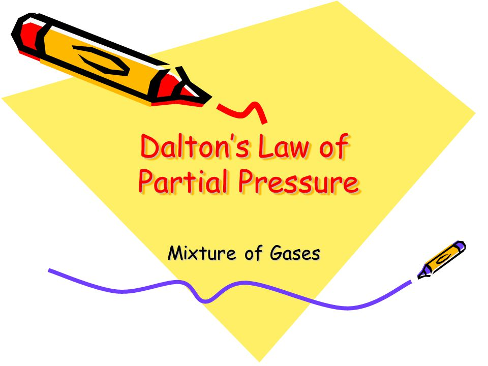 Daltons Law of Partial Pressure Mixture of Gases