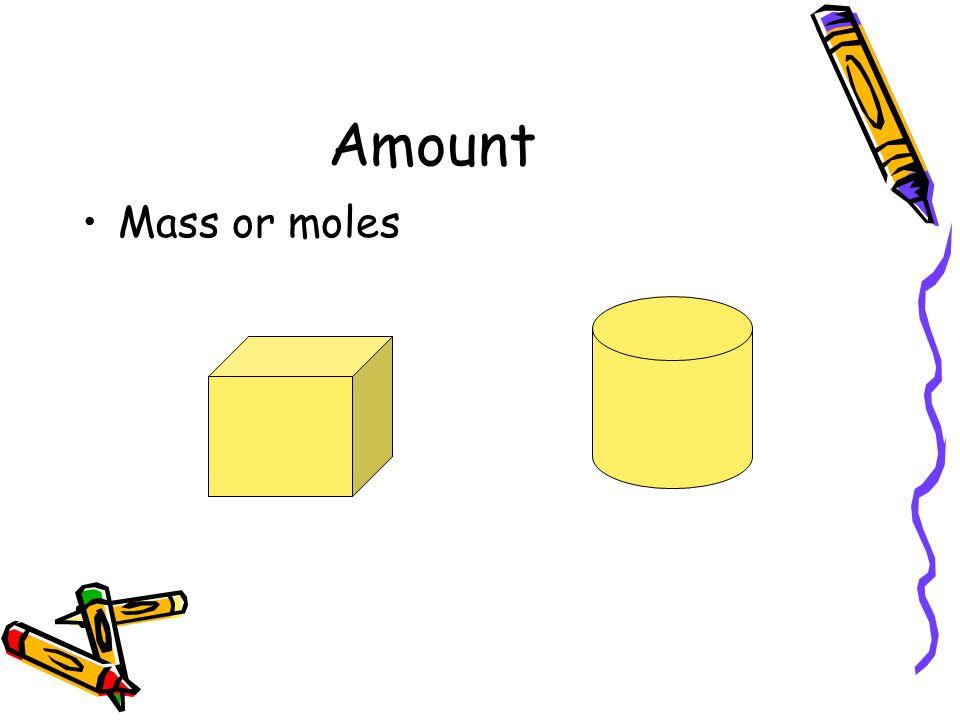 Amount Mass or moles
