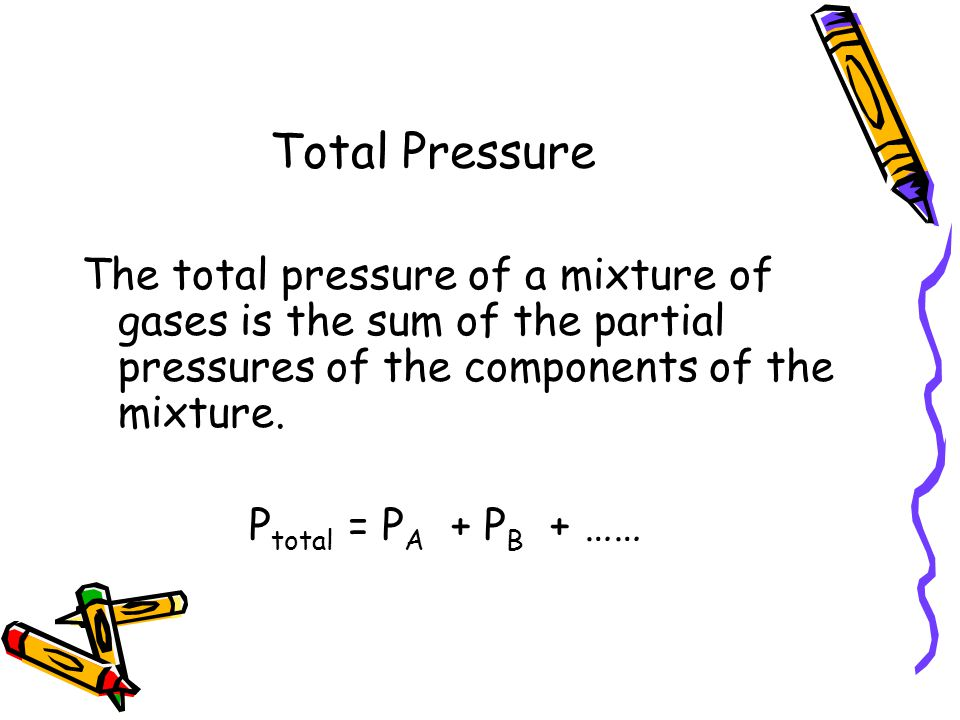 Total Pressure The total pressure of a mixture of gases is the sum of the partial pressures of the components of the mixture.