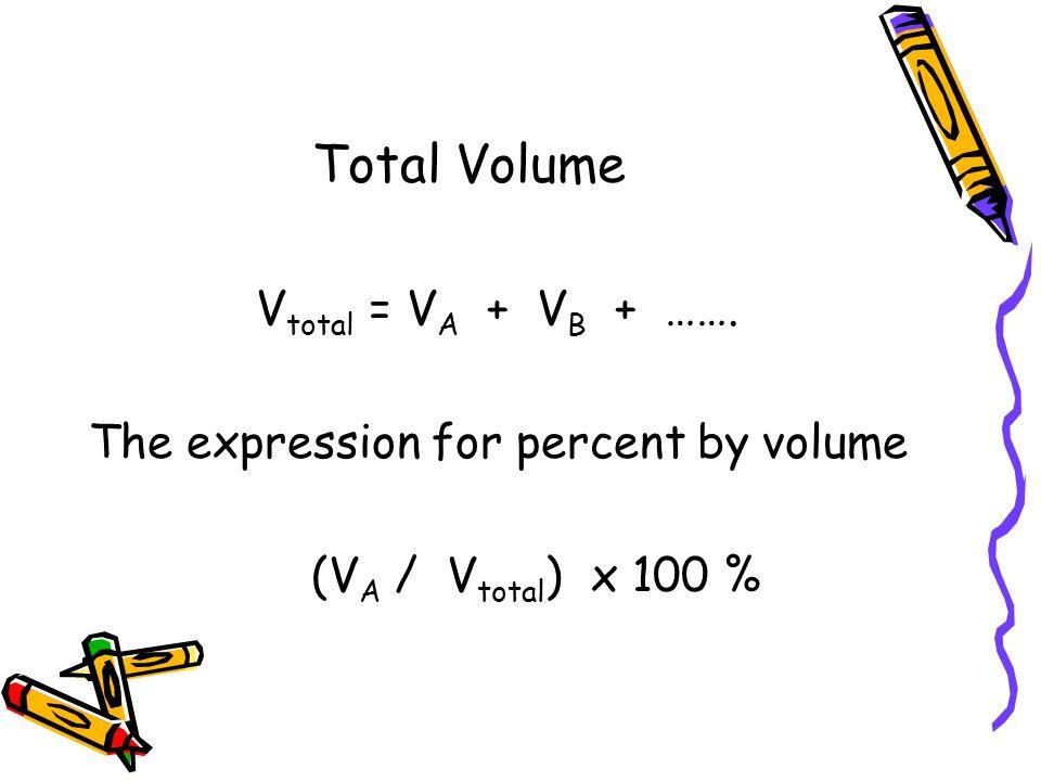 Total Volume V total = V A + V B + ……. The expression for percent by volume (V A / V total ) x 100 %