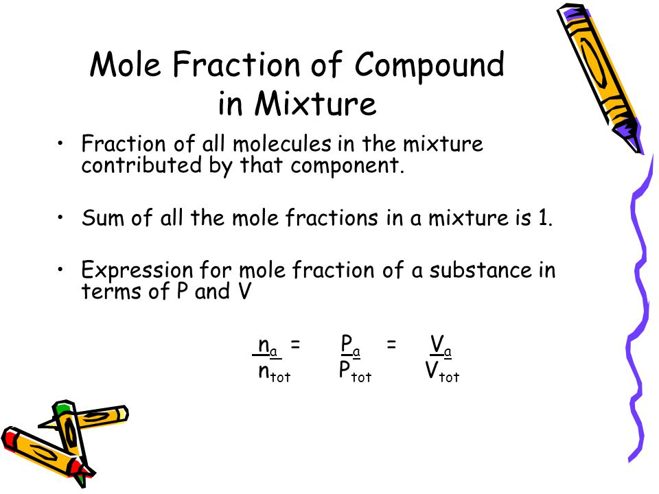 Mole Fraction of Compound in Mixture Fraction of all molecules in the mixture contributed by that component.
