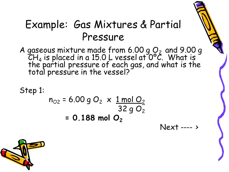 Example: Gas Mixtures & Partial Pressure A gaseous mixture made from 6.00 g O 2 and 9.00 g CH 4 is placed in a 15.0 L vessel at 0ºC. What is the parti