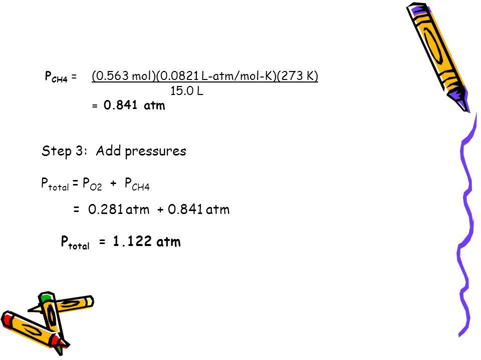 P CH4 = (0.563 mol)(0.0821 L-atm/mol-K)(273 K) 15.0 L = 0.841 atm Step 3: Add pressures P total = P O2 + P CH4 = 0.281 atm + 0.841 atm P total = 1.122