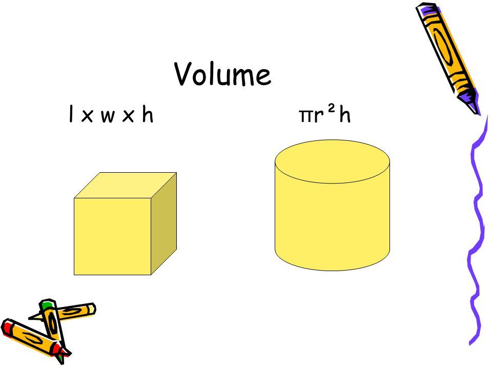 Volume l x w x h π r²h