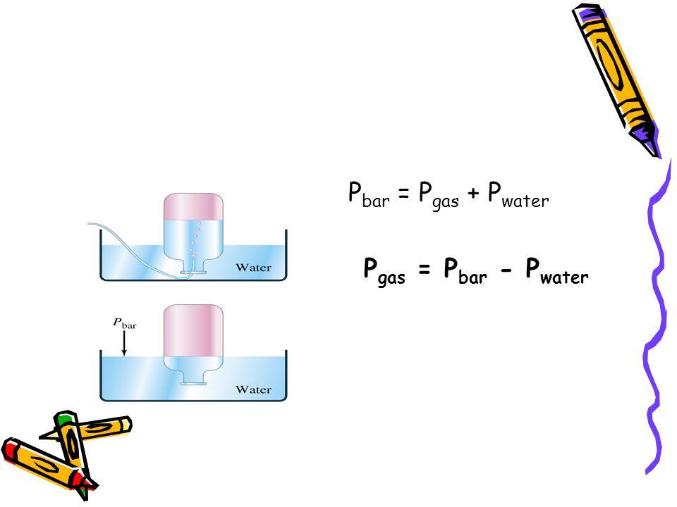 P bar = P gas + P water P gas = P bar - P water