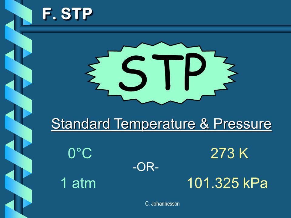 C. Johannesson F. STP Standard Temperature & Pressure 0°C 273 K 1 atm101.325 kPa -OR- STP