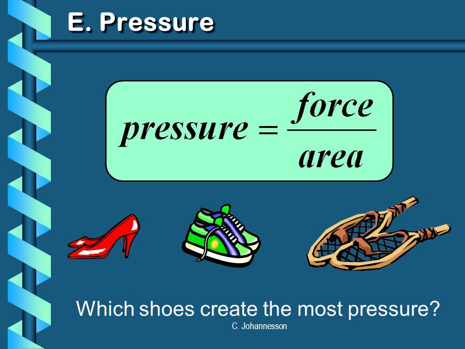 C. Johannesson E. Pressure Which shoes create the most pressure?