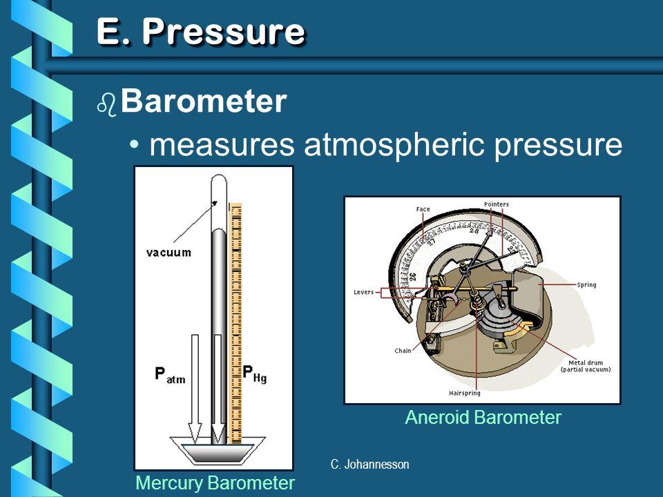 C. Johannesson E. Pressure b Barometer measures atmospheric pressure Mercury Barometer Aneroid Barometer