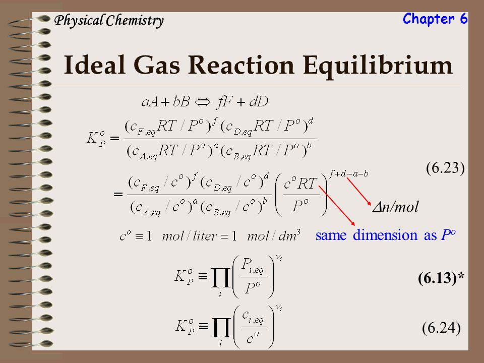 Ideal Gas Reaction Equilibrium (6.23) n/mol same dimension as P o (6.24)(6.13)* Physical Chemistry Chapter 6