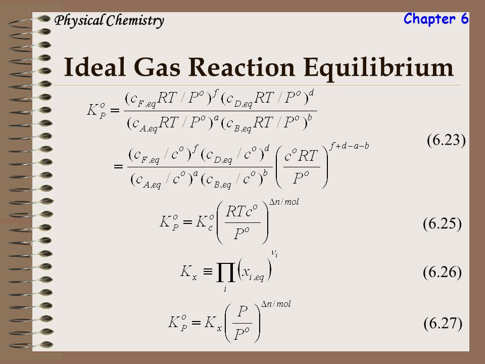 Ideal Gas Reaction Equilibrium (6.23) (6.25) (6.26) (6.27) Physical Chemistry Chapter 6