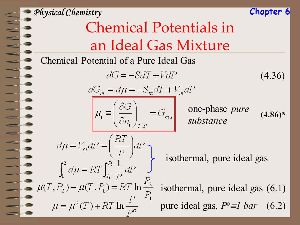 Chemical Potentials in an Ideal Gas Mixture Chemical Potential of a Pure Ideal Gas (4.36) isothermal, pure ideal gas (6.1) pure ideal gas, P o 1 bar (